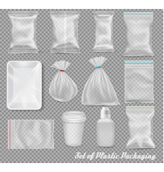 Big set of polypropylene plastic packaging vector