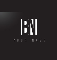 bn letter logo with black and white negative vector image