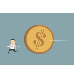 Businessman running away from big coin vector image