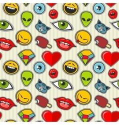 cartoon patch seamless pattern vector image