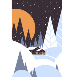 christmas night countryside landscape with house vector image