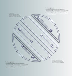 Circle infographic template askew divided to four vector