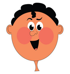 Clipart a boy with red cheeks or color vector