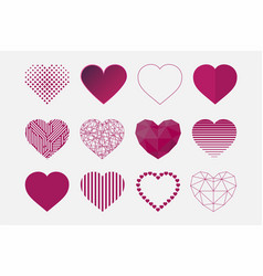 collection of hearts icons in different vector image