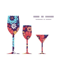 colorful bouquet flowers three wine glasses vector image