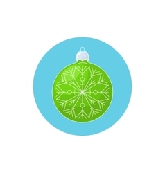 Colorful Icon Christmas Green Ball with Snowflake vector image