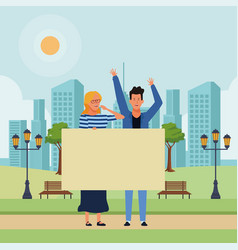 Couple holding blank banner vector