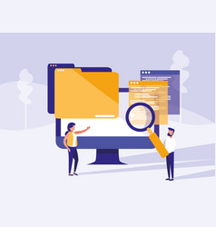 couple with monitor computer in landscape vector image