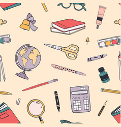 creative back to school seamless pattern with vector image