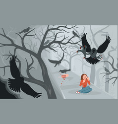 Crows and lonely woman on halloween background vector
