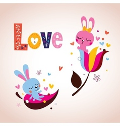 Cute bunnies in love Valentines day retro card vector