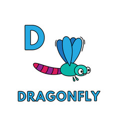 Cute cartoon animals alphabet dragonfly vector