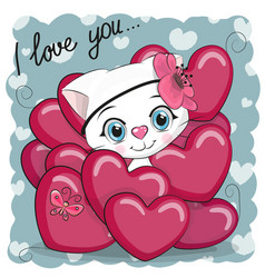Cute cartoon kitten in hearts vector