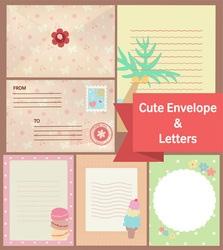 cute vintage pastel letters and envelope paper vector image