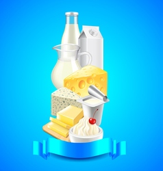Dairy products on each other and blue ribbon for vector image