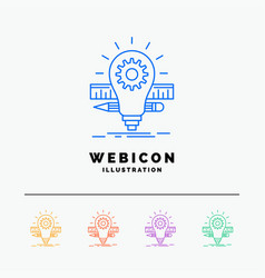 development idea bulb pencil scale 5 color line vector image