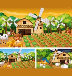 different farm scenes with farm animals cartoon vector image