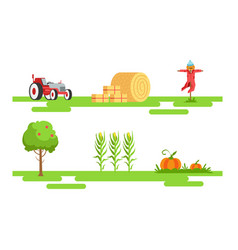 eco farm and agricultural elements set tractor vector image