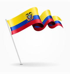 Ecuadorian pin wavy flag vector