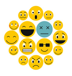 emoticon icons set flat style vector image