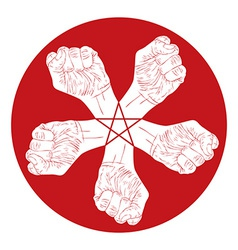 Five fists abstract symbol with five point star vector