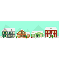 flat colorful winter houses landscape template vector image