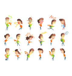 Flat set with cartoon boy and girl showing vector