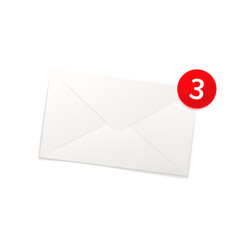 glossy new mail notification icon bright envelope vector image