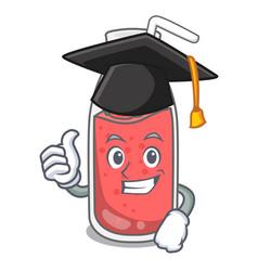 Graduation strawberry smoothie character cartoon vector