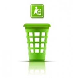 green garbage basket with indicator vector image