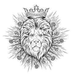 hand drawn crowned lion head in sun rays isolated vector image vector image