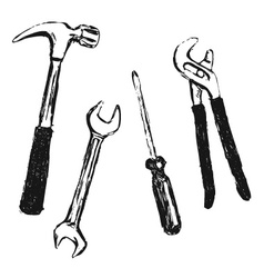 Hand sketch work tool vector image