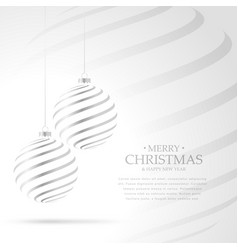 hanging silver christmas balls on white background vector image