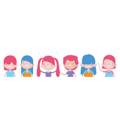 happy childrens day cute little girls and boys vector image