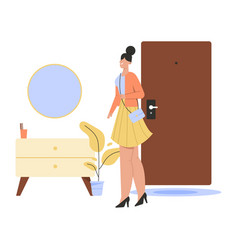 Happy woman returns home from work and standing in vector