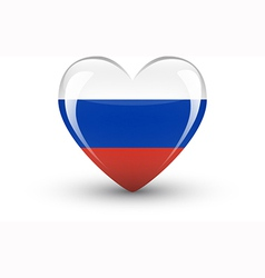 Heart-shaped icon with national flag of Russia vector