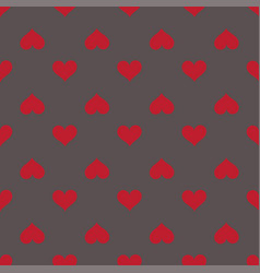 hearts seamless red gray background pattern vector image