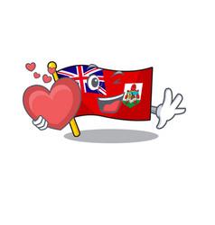 Holding heart flag bermuda isolated cartoon the vector