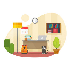 Home office interior workplace with table desk vector