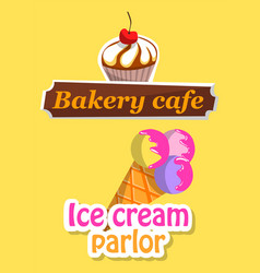 ice-cream and dessert logotype sweet logo vector image