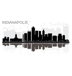 Indianapolis city skyline black and white vector