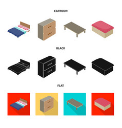 isolated object of bedroom and room icon set of vector image