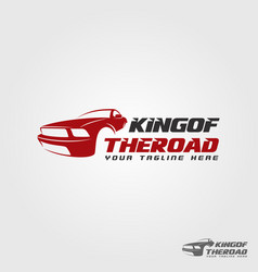 King of the road - race car logo template vector