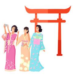 Landmark japan shooting geisha torii vector