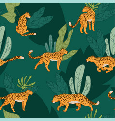 leopard animal cheetah with spot seamless pattern vector image