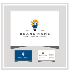 Light bulb home gear logo design and business card vector