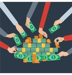 Long hands money grabbing flat poster vector image