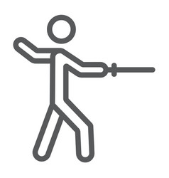 man fencing line icon sport and fighting fencer vector image