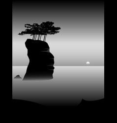 Minimal landscape trees on cliff in sea vector
