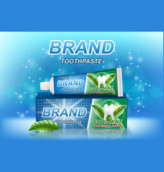 Mint toothpaste ads tooth model and product vector